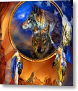 Dream Catcher - Wolf Dreams Patriotic Metal Print