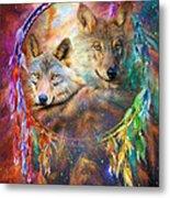 Dream Catcher - Wolf Spirits Metal Print