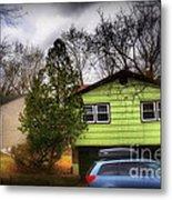 Suburban Dream - House With Blue Car Metal Print