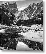 Dream Lake Reflection Black And White Metal Print