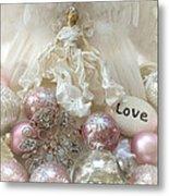 Dreamy Angel Christmas Holiday Shabby Chic Love Print - Holiday Angel Art Romantic Holiday Ornaments Metal Print