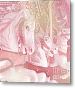 Dreamy Baby Pink Merry Go Round Carousel Horses - Pink Carousel Horses Baby Girl Nursery Decor Metal Print