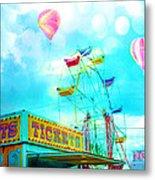 Dreamy Carnival Ferris Wheel Ticket Booth Hot Air Balloons Teal Aquamarine Blue Festival Fair Rides Metal Print