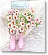 Dreamy Cottage Garden Art - Shabby Chic Pink Flowers Garden Bloom With Pink Rain Boots Metal Print