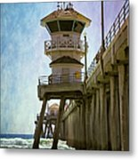 Dreamy Day At Huntington Beach Pier Metal Print