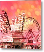 Surreal Hot Pink Orange Carnival Festival Cotton Candy Stand Candy Apples Ferris Wheel Art Metal Print