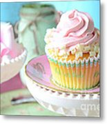 Dreamy Shabby Chic Cupcake Vintage Romantic Food And Floral Photography - Pink Teal Aqua Blue  Metal Print