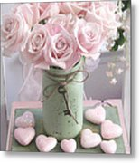 Shabby Chic Pink Roses - Romantic Valentine Roses Hearts Floral Prints Home Decor - Romantic Roses  Metal Print