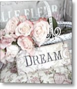 Dreamy Shabby Chic Romantic Cottage Chic Roses In White Basket  Metal Print