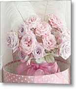 Dreamy Shabby Chic Roses In Pink Polka Dot Hat Box - Romantic Roses Floral Bouquet Metal Print