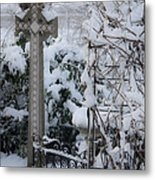 Dreamy Snowy Cross Metal Print