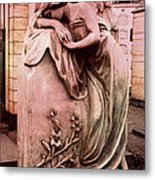 Dreamy Surreal Beautiful Angel Art Photograph - Angel Mourning Weeping At Gravestone  Metal Print