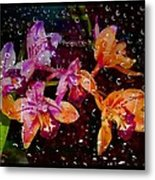 Drenched Flowers Metal Print