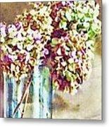 Dried Autumn Hydrangeas - Digital Paint Metal Print