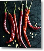 Dried Chilli Peppers Metal Print