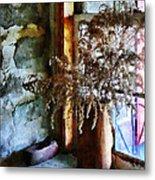 Dried Flowers On Windowsill Metal Print