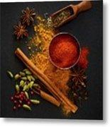Dried Spices On Black Slate Metal Print