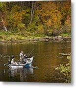 Drift Boat Fishermen On The Muskegon River Metal Print