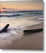 Driftwood On The Beach Metal Print by Adam Romanowicz