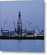 Drill Ship Before Dawn Metal Print