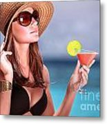 Drink Cocktail On The Beach Metal Print