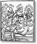 Drinking Party, 1516 Metal Print