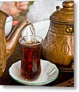 Drinking Traditional Turkish Tea Metal Print