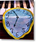 Dripping Clock On Piano Keys Metal Print by Garry Gay