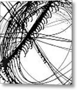 Drippy Circles Black Metal Print