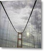 Driving The Mackinac Bridge  Metal Print