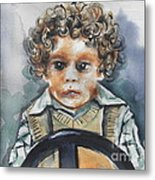 Driving The Taxi Metal Print