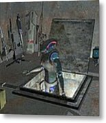 Droid Discovering A Weapons Cache Metal Print