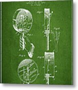 Droop Hand  Drum Patent Drawing From 1892 - Green Metal Print