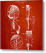 Droop Hand  Drum Patent Drawing From 1892 - Red Metal Print