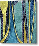 Droplet Ornaments In Navy Blue And Gold Metal Print