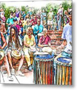 Drum Circle Of Friends Metal Print