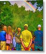 Drum Circle Rainbow Metal Print