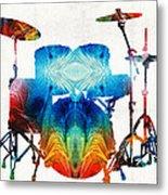 Drum Set Art - Color Fusion Drums - By Sharon Cummings Metal Print