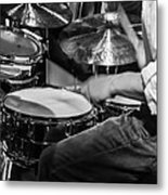 Drummer At Work Metal Print