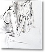 Dry Brush Painting Of A Young Womans Face Metal Print
