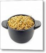 Dry Chamomile In A Black Cup Metal Print
