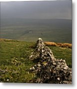 Drystone Wall  Misty Day Kettlewell Wharfedale North Yorkshire England Metal Print