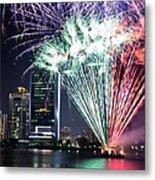 Dubai Creek Fireworks Metal Print