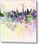 Dubai Skyline In Watercolour Background Metal Print