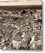 Dubrovnik Rooftops And Lokrum Island Against The Dalmatian Adriatic Sepia Metal Print
