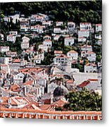 Dubrovnik Rooftops Domes And North East Walls Against The Mountains From The Sea Walls Metal Print