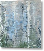 Duck On Pond, Abstract Metal Print
