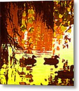 Ducks On Red Lake Metal Print