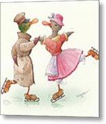 Ducks on skates 17 Metal Print