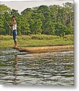 Dugout Canoe In The Rapti River In Chitin National Park-nepal Metal Print